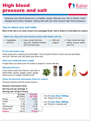 High blood pressure and salt fact sheet