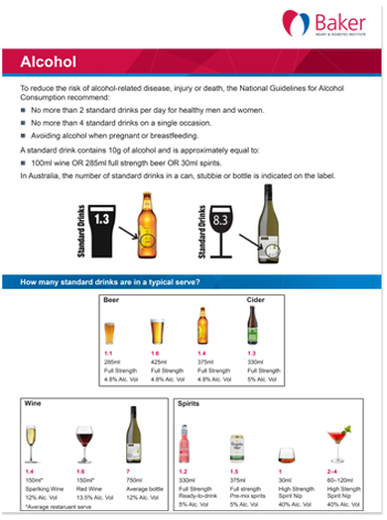 Baker Institute fact sheet alcohol