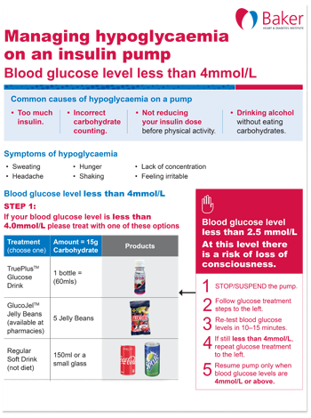 Managing hypoglycaemia on an insulin pump fact sheet